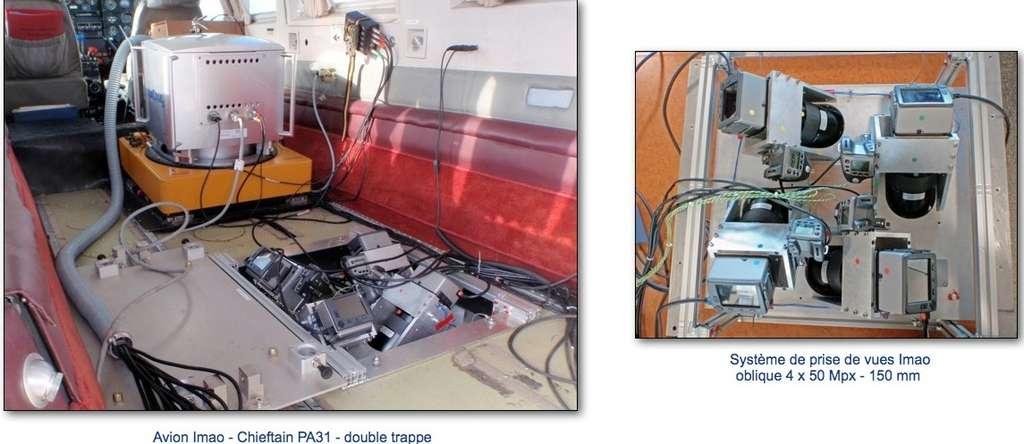 Pour réaliser les prises de vue aériennes destinées à Ubick, Imao a aménagé l'un de ses avions avec un système comportant cinq caméras et une centrale inertielle. Les itinéraires de vol sont intégrés dans le système de navigation et le pilote suit les axes de prise de vue à partir de son tableau de bord. Les caméras se déclenchent automatiquement grâce au GPS intégré et à l'ordinateur de vol. © Imao