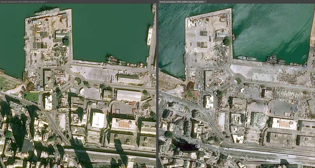 Les dégâts et les ravages dans le port de Beyrouth (Liban), vus depuis des satellites d'observation de la Terre d'Airbus, après les deux explosions survenues le 4 août 2020. © Cnes diffusion, Airbus DS Geo 2020