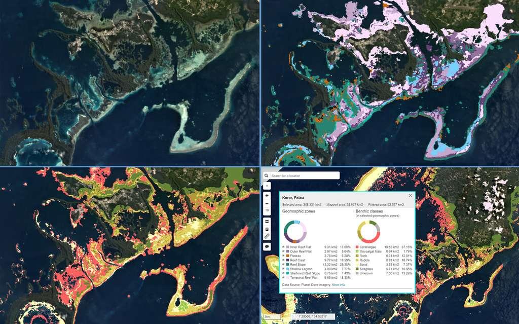 Cartes satellites, géomorphiques et benthiques du récif corallien de Koror dans la République de Palau. © Planet, Allen Coral Atlas