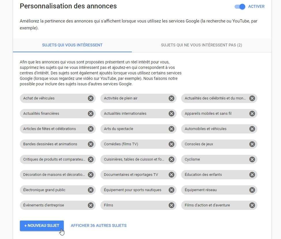 Dans le tableau de bord de personnalisation des annonces, il est possible de sélectionner les thèmes sur lesquels Google s'appuie pour proposer des publicités ciblées. © Futura