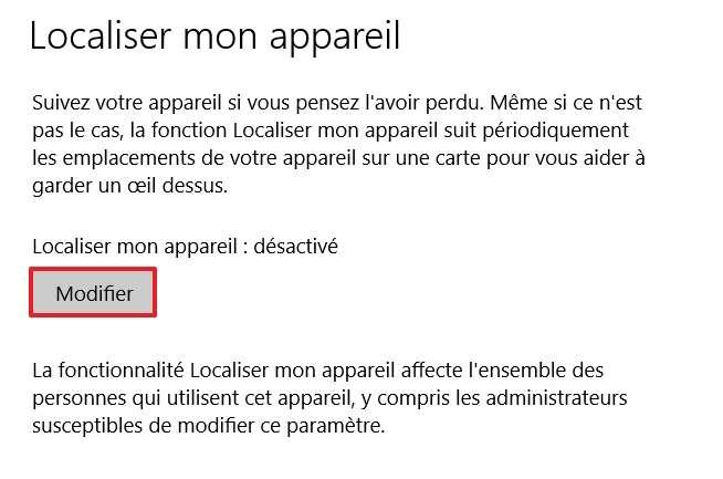 Cliquez sur le bouton « Modifier » si l'option de localisation est désactivée. © Microsoft