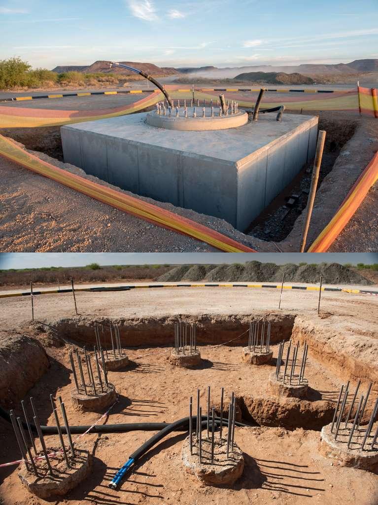 Les fondations d'une antenne du réseau MeerKAT se composent de huit piles en béton armé enfouies à des profondeurs de 5 à 10 mètres, en fonction de la nature du sous-sol. Une dalle de béton de 5,2 m de côté et épaisse de 1,25 m repose sur ces pieux pour ajouter davantage de stabilité. L'antenne prendra place sur les 32 boulons que l'on voit sur l'image du haut, également coulés dans le béton. © MeerKAT