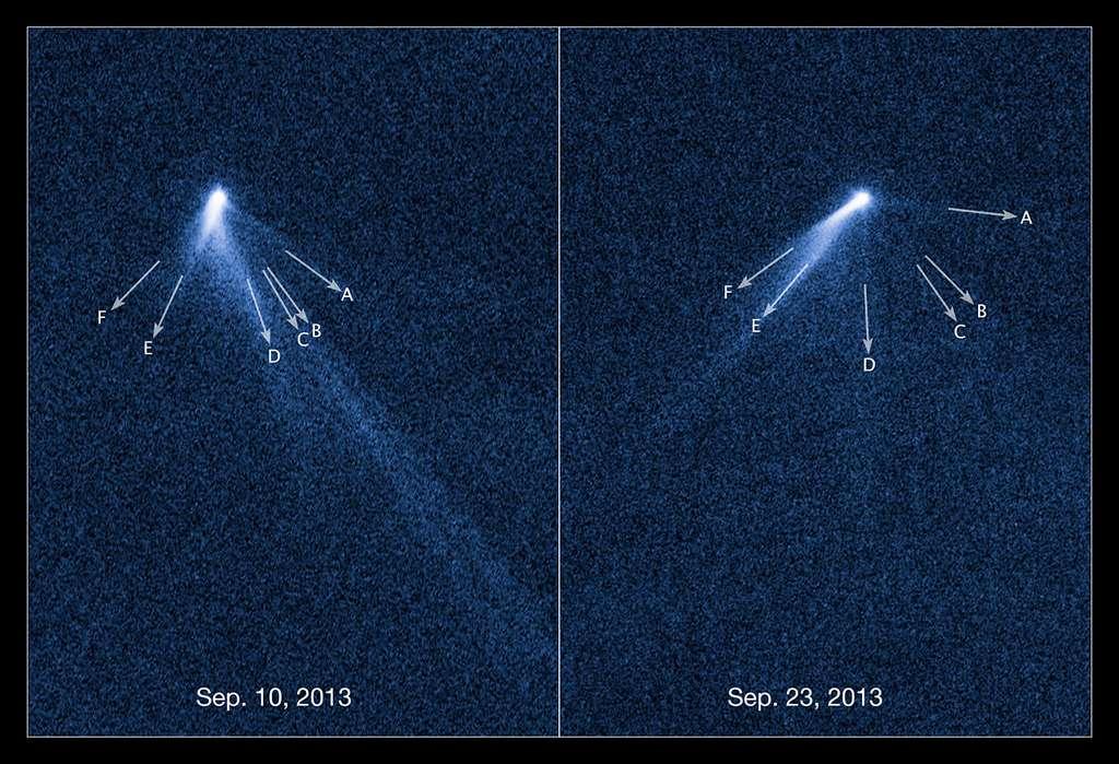 Intrigués par son aspect singulièrement flou, David Jewitt et son équipe ont découvert sur les images d'Hubble, l'existence de six queues sur l'astéroïde P/2013 P5. Lentement mais sûrement, la lumière solaire aurait augmenté la vitesse de rotation de l'astéroïde. Une petite quantité de poussières est étalée à l'extérieur par la pression des radiations solaires. © Nasa, Esa, David Jewitt, UCLA