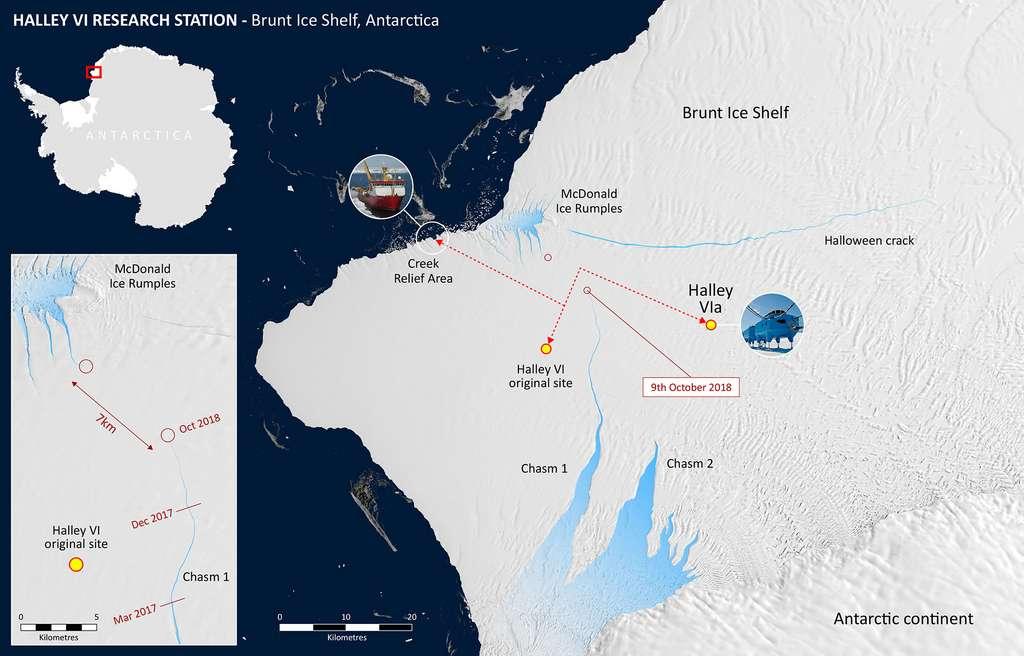 En octobre 2018, 7 km séparaient Chasm 1 des McDonald Ice Rumples. L'avancement de Chasm 1 et l'apparition de Halloween Crack en 2016 ont poussé les scientifiques à déplacer la base Halley installée sur la barrière de Brunt. La nouvelle position de cette station de recherche dirigée par le British Antarctic Survey (BAS) est indiquée par le point jaune noté Halley VIa. © British Antarctic Survey