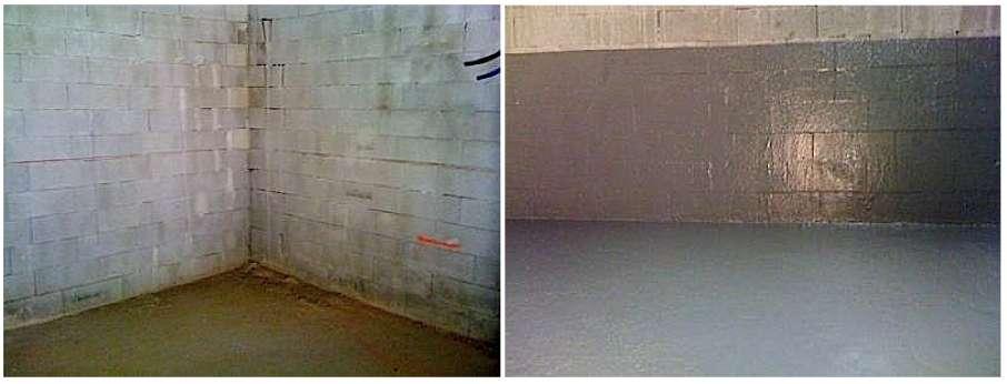 Le produit imperméabilisant (ici, une base de résine polyuréthane) doit au minimum remonter à hauteur du niveau d'eau déterminé par une analyse du terrain. © humitech13.fr