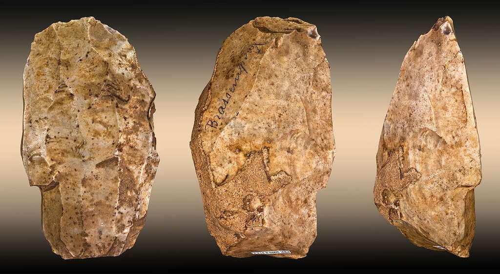 Nucléus en silex pour débitage laminaire. Montbert, La Brennière, vers 150000 à 35000 av. J.-C. Quartzite, Musée Dobrée, inv. 998.4.5. © Didier Descouens, Wikimedia commons, CC 3.0