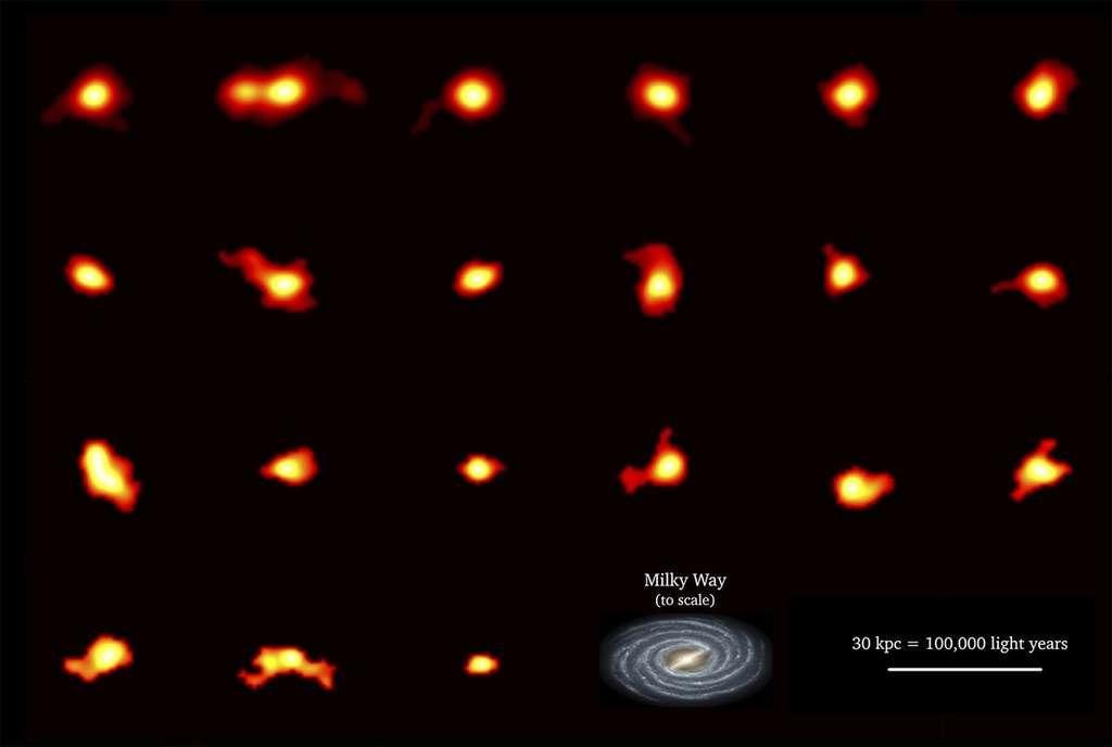 Collage de 21 galaxies imagées par le programme Alpine. Les images sont basées sur la lumière émise par le C+. Ces données montrent la variété des différentes structures galactiques déjà en place moins de 1,5 milliard d'années après le Big Bang (notre univers a 13,8 milliards d'années). Certaines de ces images contiennent en fait des galaxies en train de fusionner : par exemple, dans la rangée du haut, le deuxième objet en partant de la gauche est en fait trois galaxies en train de fusionner. D'autres galaxies semblent être plus harmonieusement ordonnées et pourraient être des spirales : un exemple clair est la galaxie complètement à gauche dans la deuxième rangée. Notre galaxie, la Voie lactée, est montrée à l'échelle pour aider à visualiser la petite taille de ces jeunes galaxies. La barre en bas à droite correspond à 30 kiloparsecs, soit environ 100.000 années-lumière. © Michele Ginolfi (Alpine collaboration) ; Alma (ESO/NAOJ/NRAO) ; Nasa/JPL-Caltech/R. Hurt (Ipac)