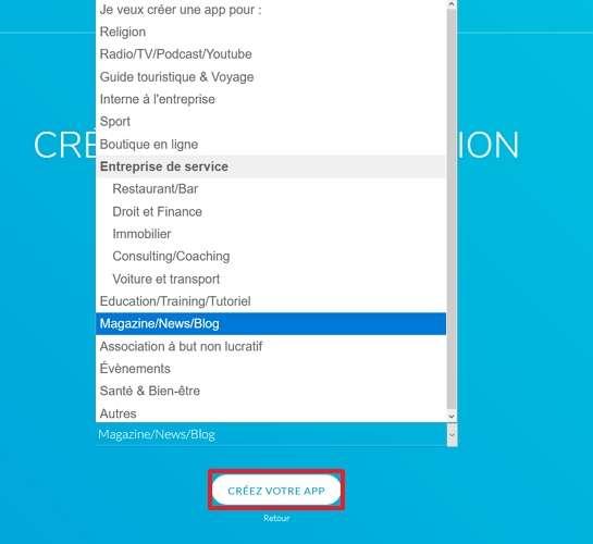 Définissez le type d'application que vous voulez créer. © GoodBarber
