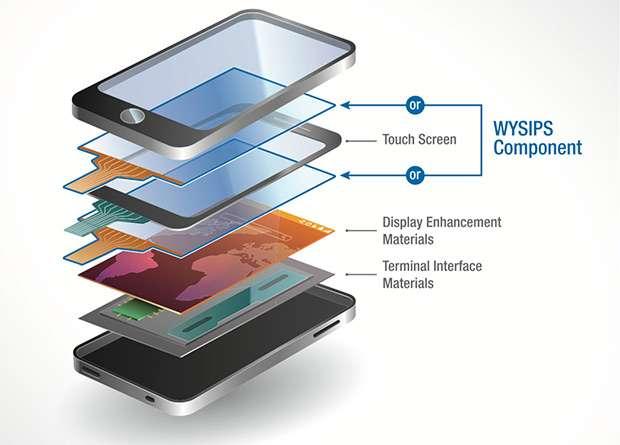 Wysips est une cellule photovoltaïque transparente qui se place au-dessus ou en dessous de l'écran tactile du téléphone. Dix minutes d'exposition à la lumière permettent de téléphoner durant une minute. © SunPartner