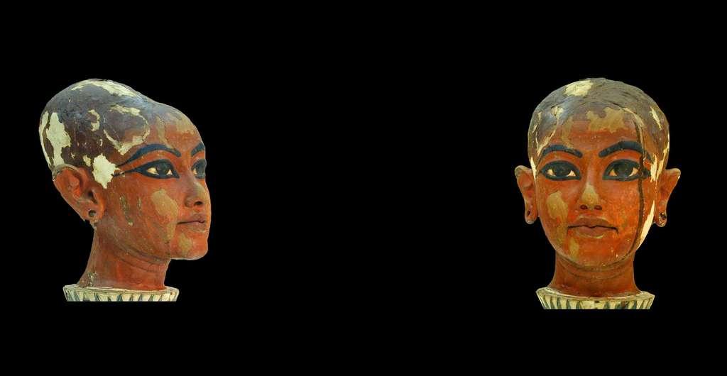 Profil et face de la tête de Toutankhamon.