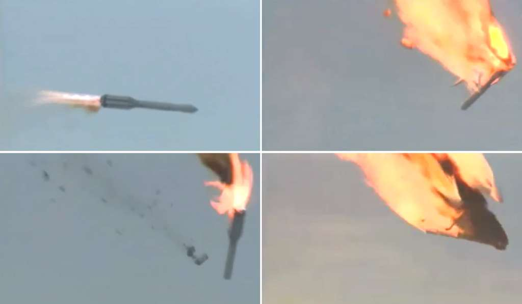 Le 2 juillet 2013, le lanceur Proton-M a quitté sa trajectoire et la partie supérieure s'est embrasée, entraînant la perte de trois satellites Glonass. Une enquête est en cours pour déterminer si certains lancements de Proton ont subi des actes de sabotage. © Roscosmos, YouTube
