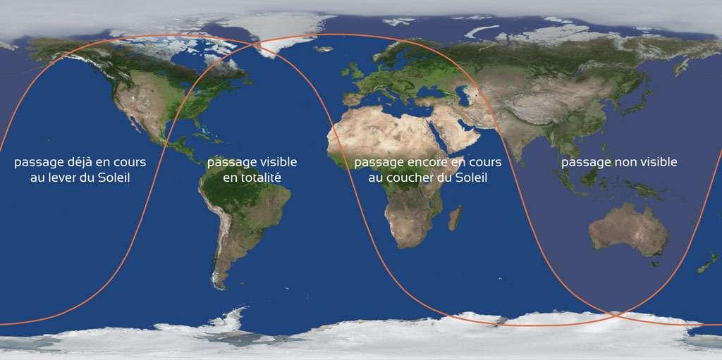 Les endroits du monde où le transit de Mercure sera visible en intégralité, partiellement ou non. © Stelvision, d'après une carte de F. Espenak