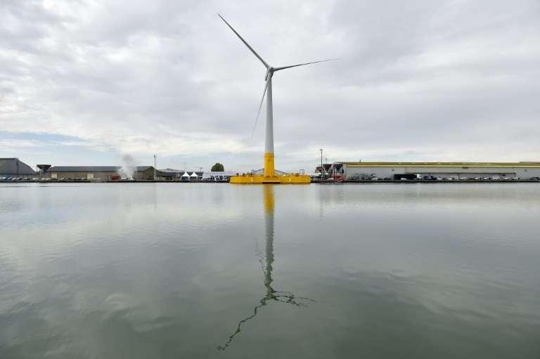 Floatgen, la première éolienne flottante française inaugurée à Saint-Nazaire, le 13 octobre 2017. © Loic Venance - AFP/Archives