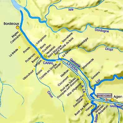 Canal latéral : entre Bordeaux et Agen. © DR