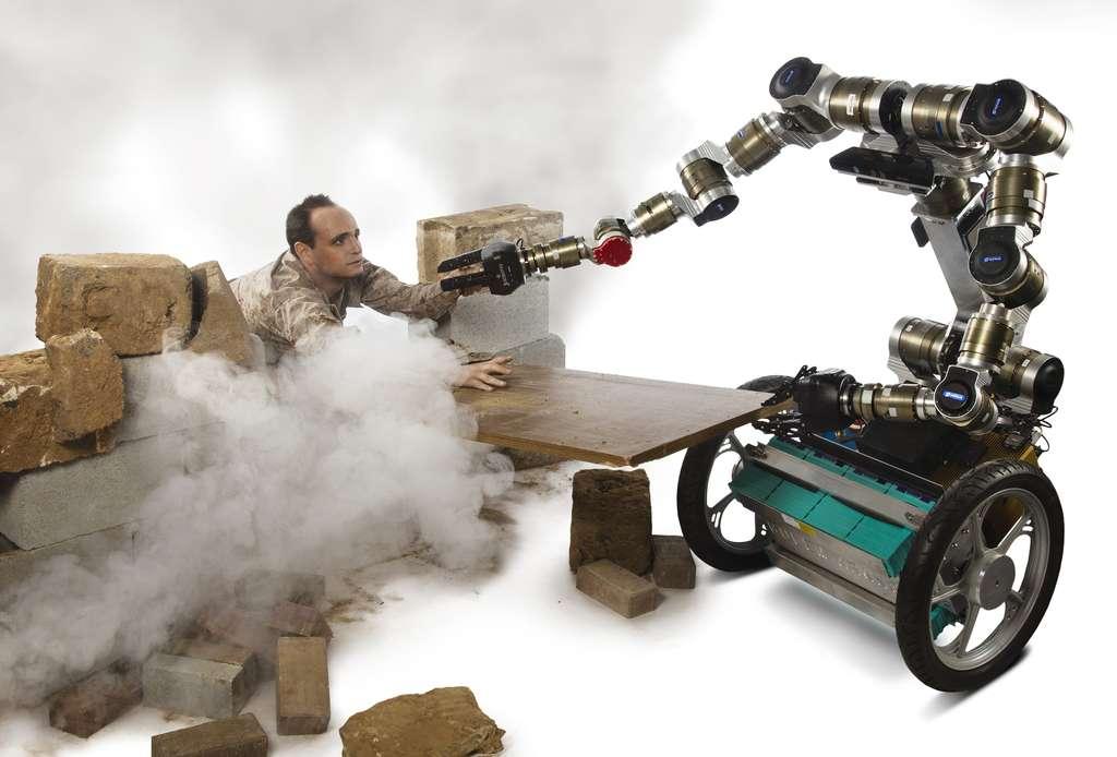 Simulation d'un scénario dans lequel un robot doté de l'algorithme cognitif développé par le Georgia Institute of Technology sera capable de porter secours à une personne en se servant des débris qu'il trouvera sur les lieux d'un sinistre. © Georgia Institute of Technology