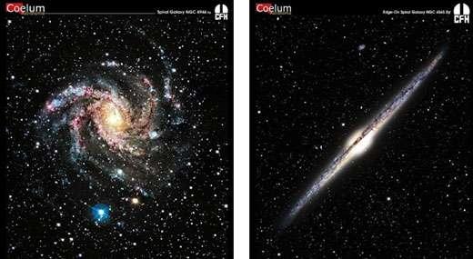 Deux galaxies spirales observées dans le domaine visible, l'une de face (à gauche), l'autre par la tranche (à droite). On observe un bulbe central avec une forte densité d'étoiles entouré d'un disque mince formé de bras spiraux. © Images CFHT