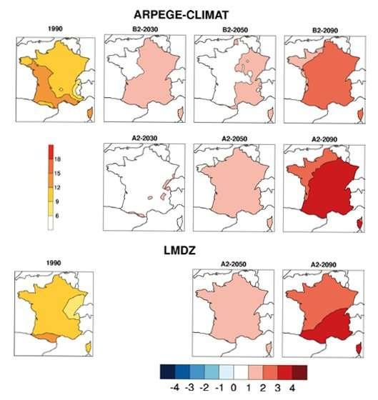 Les cartes ci-dessus n'ont rien à voir avec de la météorologie. Elles sont établies par des modèles climatiques comme Arpège ou LMDZ. Ils donnent des scénarios d'évolution des températures annuelles moyennes pour le siècle à venir. Si les valeurs sont différentes, la tendance est la même : le réchauffement. Animaux et plantes suivent le mouvement. © Onerc/Ministère de l'Écologie