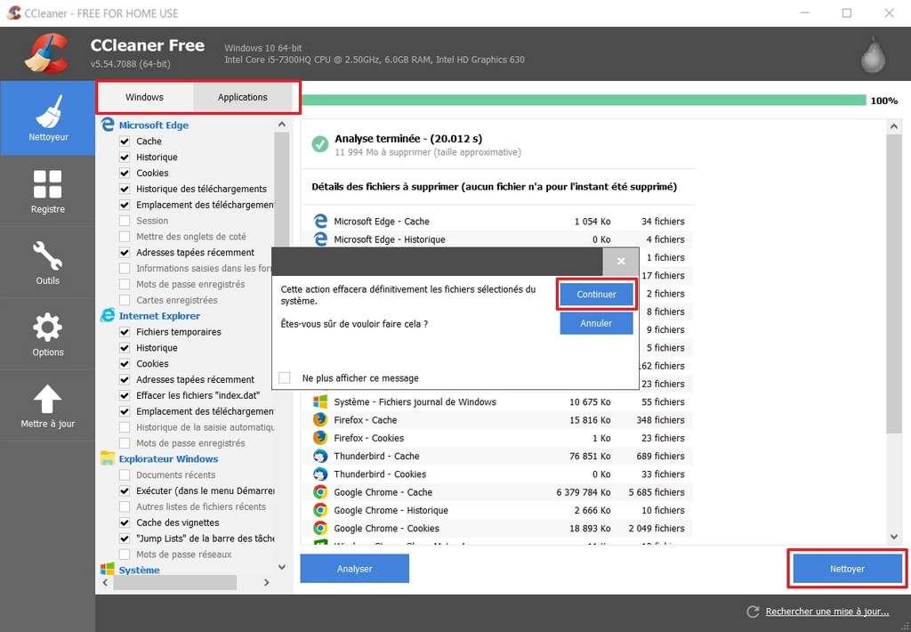 Lancer le nettoyage sert à supprimer tous les fichiers inutiles de votre PC. © Piriform Ltd
