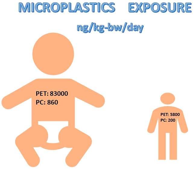 Les bébés absorbent quotidiennement 83.000 nanogrammes par kilo de poids corporel de PET et 860 ng/kg de poids corporel de polycarbonate (PC). © Environ. Sci. Technol. Lett. 2021