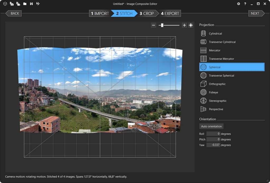 Affichage du rendu du panorama en projection sphérique. © Image Composite Editor