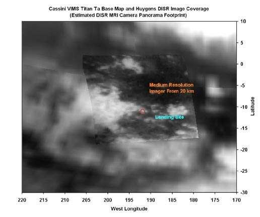 Zone d'atterrissage de Huygens vue de Cassini