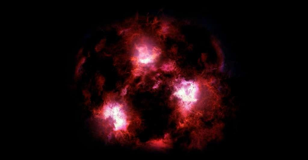 De nouvelles données de l'Atacama Large Millimeter/submillimeter Array (ALMA) ont révélé la présence d'une galaxie géante à 12,5 milliards d'années-lumière de notre Terre. © James Josephides, Université de l'Arizona