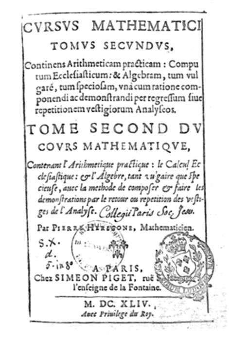 Le traité de mathématique de Pierre Hérigone se trouvait à la bibliothèque de la Sorbonne. © DP