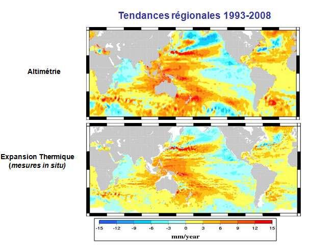 Variations spatiales de l'élévation du niveau de la mer 1992-2008 en mm/an, altimétrie (en haut) et variations spatiales de la part due au contenu thermique (en bas) en mm/an également. © Legos