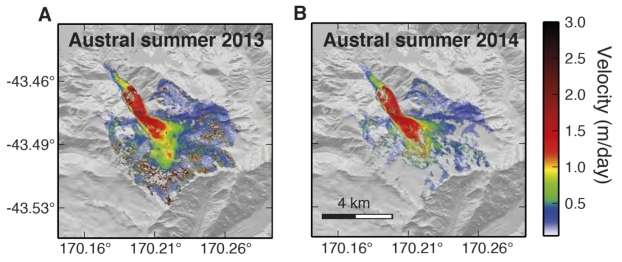 Vitesse de déplacement à la surface du glacier Franz Josef sur une période de 10 jours durant les étés 2013 et 2014. Ces vitesses ont été calculées à partir du déplacement 3D obtenu à partir d'images stéréo Worldview. © Science