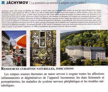 Dépliant publicitaire contemporain vantant le radon des eaux de Jachymov