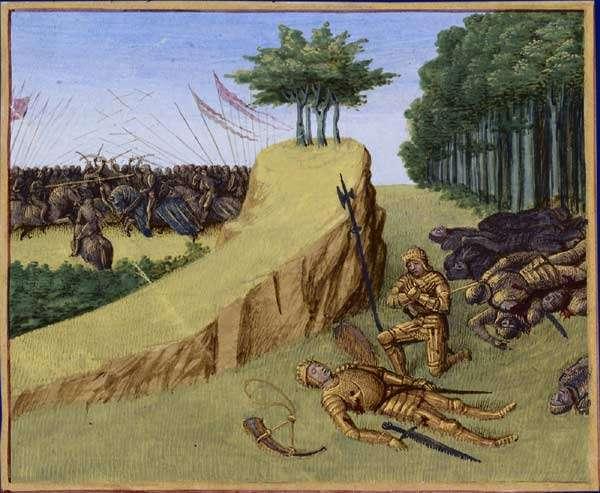 Mort de Roland à Roncevaux, par Jean Fouquet. © Jean Fouquet, Wikimedia Commons, Domaine Public