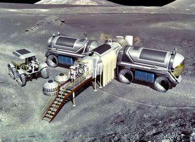 Prémice de base lunaire construite à partir de modules autonomes envoyés inhabités depuis la Terre