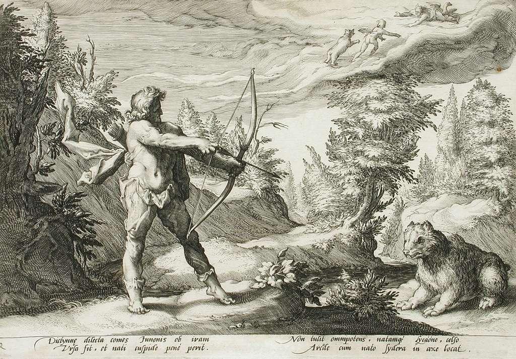 Arcas prêt à décocher une flèche sur Callisto, devenue une ourse. © Hendrik Goltzius