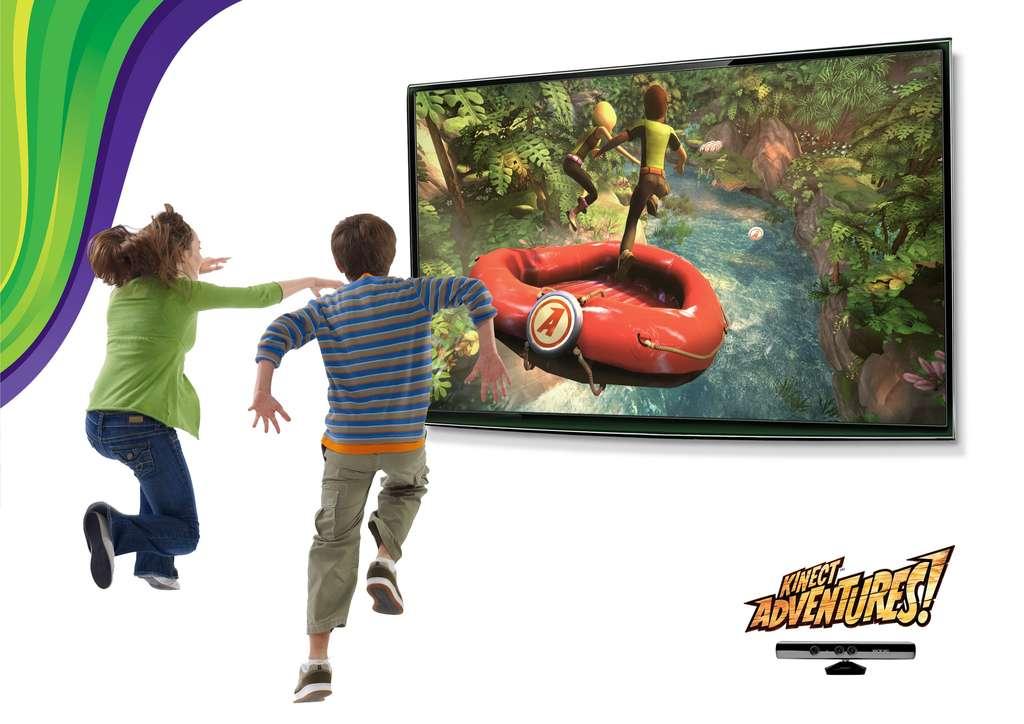 Le jeu Kinect Adventures est fourni avec l'appareil. On se penche pour guider le raft et on saute pour récupérer les ballons. © Microsoft