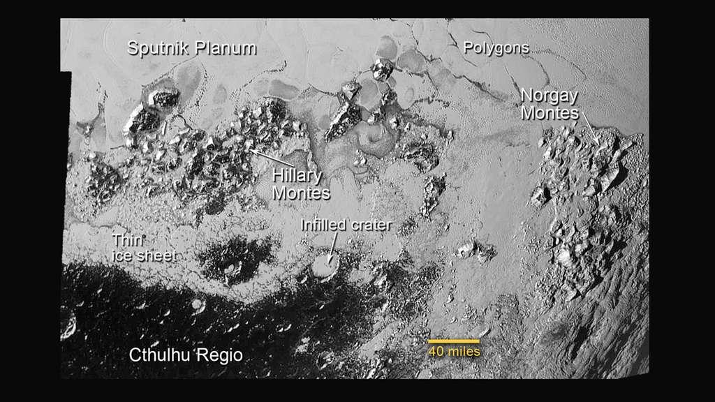Au sud de la zone nommée Spoutnik, dans la plaine de la région Tombaugh, se trouvent des cellules de glace bordées par les massifs montagneux de Hillary et Norgay (vraisemblablement constituées de glace d'eau). Elles s'insinuent jusque dans des cratères d'impact encore visibles dans la région sombre et plus ancienne de la ceinture équatoriale. L'un d'eux, partiellement rempli, s'étend sur 50 km. © Nasa, JHUAPL, SwRI
