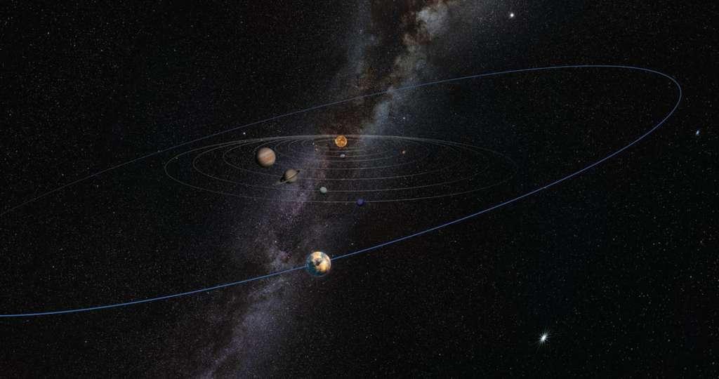 Sur cette illustration, où la taille des planètes est volontairement exagérée, l'hypothétique planète 10 (au premier plan) a le plan de son orbite incliné par rapport aux huit autres planètes situées plus près du Soleil (au centre). En arrière-plan, on distingue le plan de notre galaxie, la Voie lactée. © Heather Roper, Lunar and Planetary Laboratory, University of Arizona