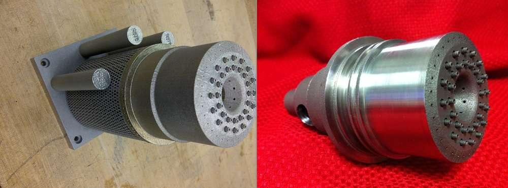 Sur la gauche, l'injecteur fabriqué par impression 3D juste après sa sortie de la machine. Sur la droite, le même injecteur après avoir été travaillé et poli. © Nasa, MSFC
