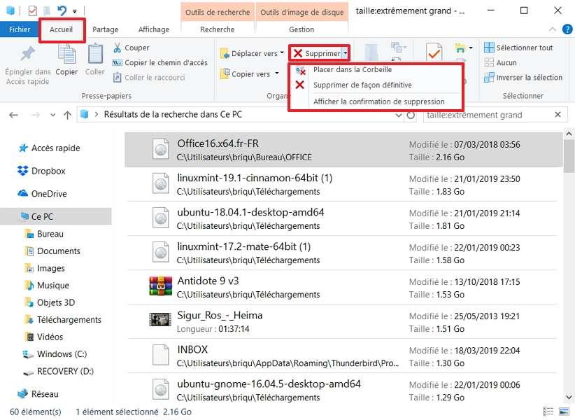Cliquez sur le fichier à effacer, puis sur la fonction Supprimer présente dans l'onglet Accueil. © Microsoft