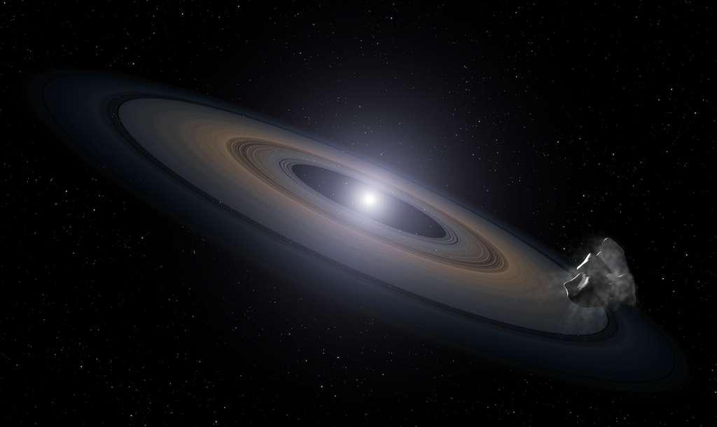 Une vue d'artiste d'un disque de matière autour d'une naine blanche produit par une collision entre deux gros astéroïdes. Une partie de cette matière finira par tomber dans l'atmosphère de la naine blanche, l'enrichissant en silicium et en aluminium. © Nasa, Esa