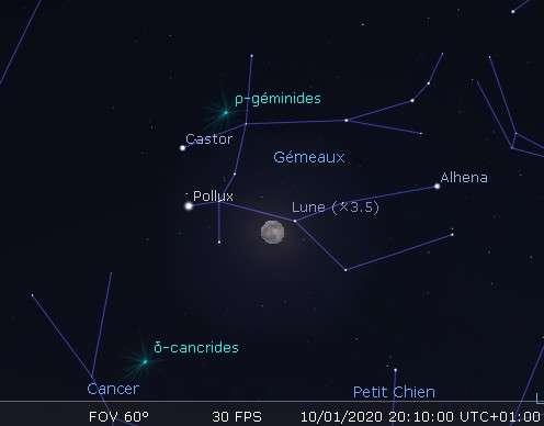 Position de la Lune au-dessus de l'horizon est, au moment du maximum de l'éclipse.