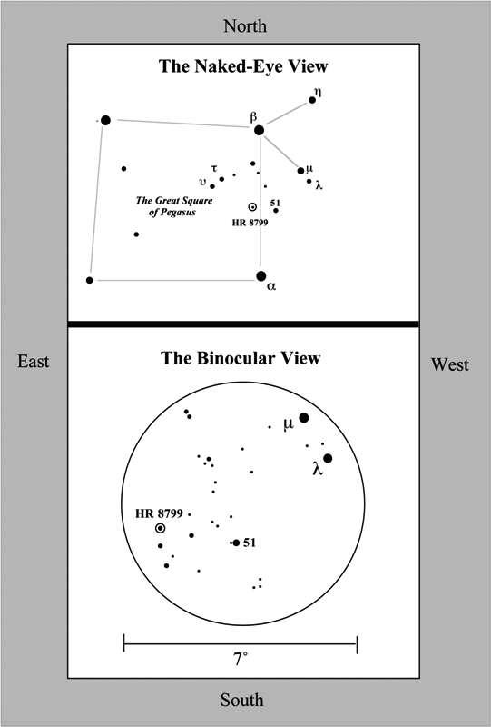 Un zoom sur la constellation de Pégase, montrant la localisation de l'étoile HR 8799, à 129 années-lumière de la Terre. © Gemini Observatory