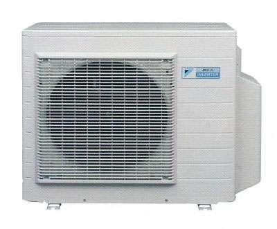 Unité extérieure Inverter réversible. Puissance calorifique : 10,6 kW. Puissance absorbée : froid 500 à 3.000 W (COP 3,29), chaud 600 à 2.600 W (COP 4,11). Niveau sonore : froid-chaud 48-49 dB(A). Température extérieure mode froid : jusqu'à 46 °C. Température extérieure mode chaud : -10 à 15,5 °C. Longueur maximale par circuit : 25 m. Cumulée : 60 m. Classe énergétique A/A. Référence 4MXS68F (environ 2.609 euros). © DR