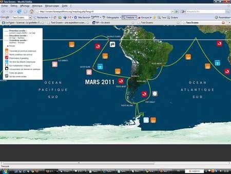 Dans l'Atlantique, Tara grimpera vers le nord et naviguera dans les eaux équatoriales. Passant par le Brésil, il descendra ensuite jusqu'à la Péninsule antarctique, pendant l'été austral 2010-2011, puis remontera en Patagonie, à Puerto Williams, à deux pas du Cap Horn. Il abordera alors l'océan Pacifique. © Tara Oceans