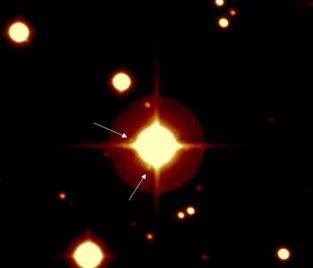 Image de l'étoile autour de laquelle tourne l'exoplanète, prise par le télescope du CFH (Canada-France-Hawaii). Crédit CNES