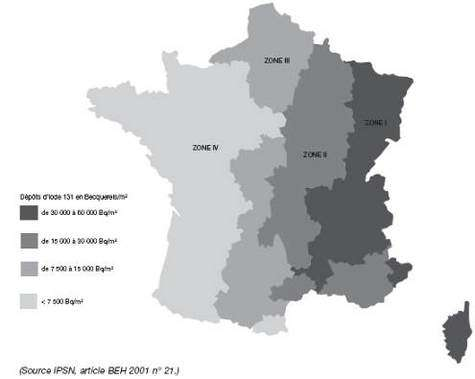Carte des retombées de l'accident de Tchernobyl en France Dépôts moyens d'iode 131 par département à la suite de l'accident de Tchernobyl (estimations relatives au mois de mai 1986) (Crédits : IPSN)
