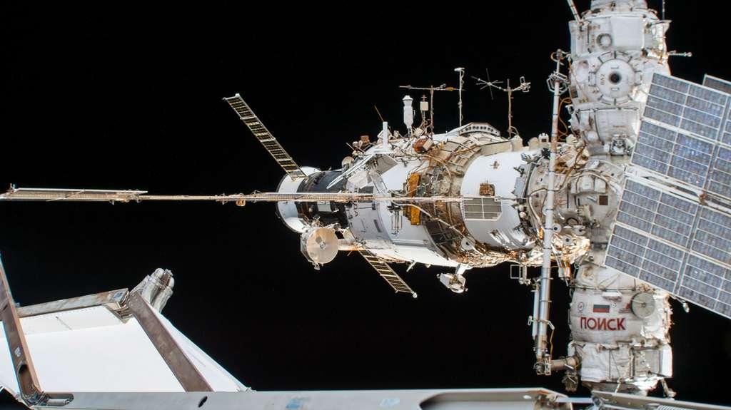 Le segment russe de la Station spatiale. Sur cette vue, le véhicule Soyouz n'est pas visible. © Nasa