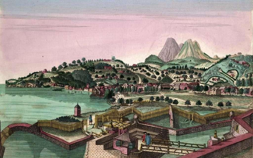 Vue de Fort-Royal en Martinique, par François Denis entre 1750 et 1760 ; actuelle ville de Fort-de-France. © Wikimedia Commons, domaine public