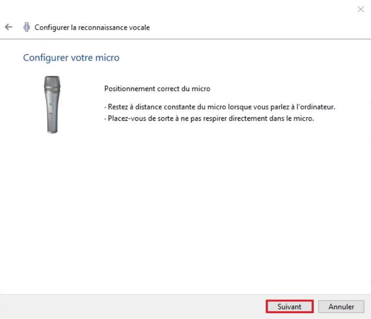 Positionnez correctement votre microphone. © Microsoft
