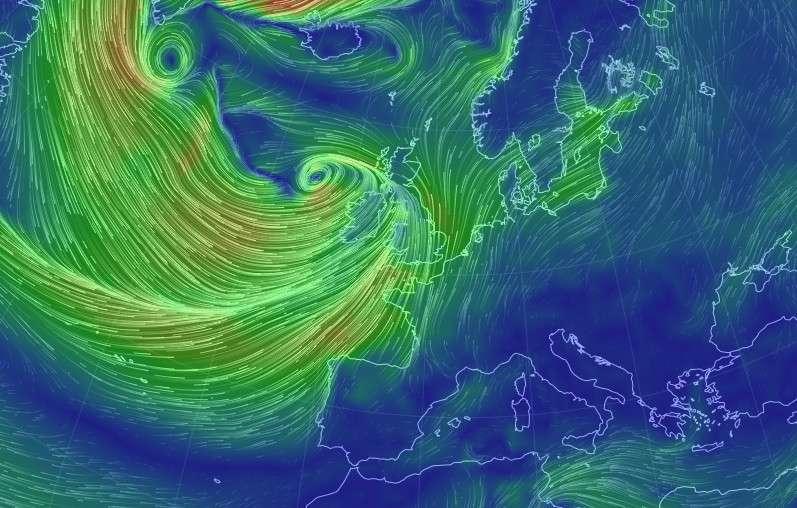 Le nouveau site Internet Earth permet de visualiser en temps réel les vents partout dans le monde. À l'image, une capture d'écran de la situation dépressionnaire qui frappe l'Europe actuellement. On observe le coeur de la tempête à l'ouest des îles Britanniques. © Capture d'écran, http://earth.nullschool.net/