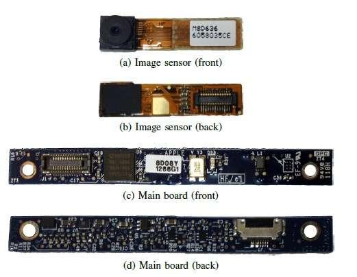 Des photos du module webcam iSight qui équipe des modèles d'iMac et de MacBook fabriqués jusqu'en 2008. Les images a et b montrent les deux côtés du capteur vidéo, tandis que les images c et d dévoilent le module avec le microcontrôleur Cypress EZ-USB FX2LP. C'est ce composant que les chercheurs sont parvenus à reprogrammer de manière à pouvoir prendre le contrôle de la webcam en toute discrétion. © Checkoway/Brocker